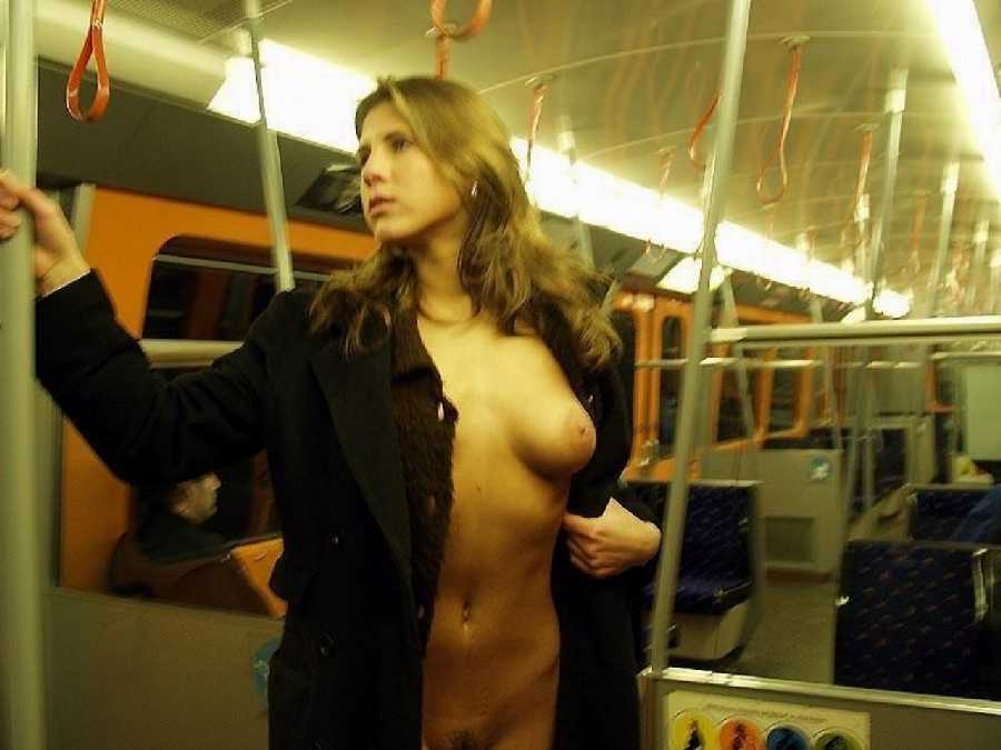 Naked woman on subway